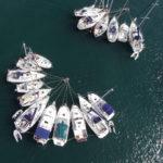 photo aérienne de bateaux
